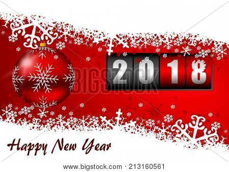 Happy new year 2018 greeting card with counter and christmas balls on red background with empty copy space