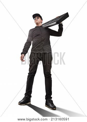musician with a synthesizer on a shoulder isolated on white background