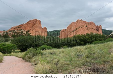 garden of the gods national natural landmark monoliths along trail in colorado springs colorado