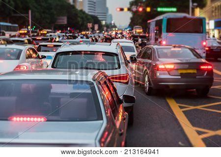 Blur Image Of Traffic Jam On Main Street