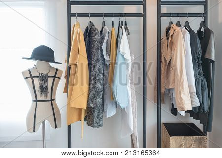 Modern Style Wardrobe With Clothes