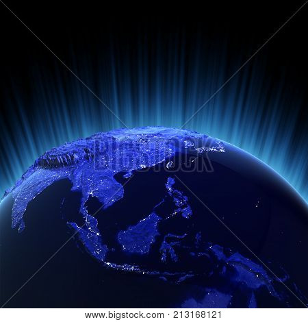 Southeast Asia volume 3d rendering. Maps from NASA imagery