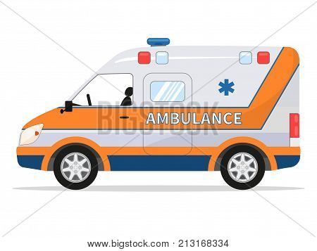 Vector illustration of a cartoon van medical car. Isolated white background. Ambulance vehicle. Flat style. Auto Emergency Assistance. Side view.