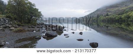 Landscape Of Llyn Crafnant During Foggy Autumn Morning In Snowdonia National Park