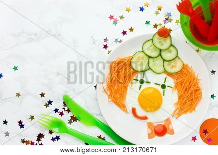 Clown face fried eggs - healthy food and fun idea for kids