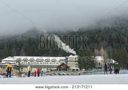 POIANA BRASOV - DECEMBER 25 2016: Ana Hotels Sport is a luxury hotel and a relaxing holiday destination located in the heart of the mountains near the ski slopes of Poiana Brasov Romania.