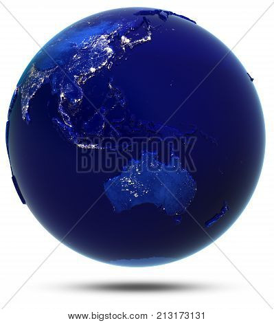 Australia, South-East Asia and Oceania. Elements of this image furnished by NASA 3d rendering