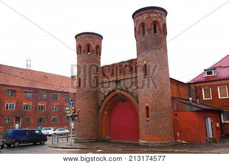 Kaliningrad, Russia - March 20, 2017:  Sackheim gate on the street. Ancient gate erected in the middle of the XIX century in the city of Konigsberg (now Kaliningrad)