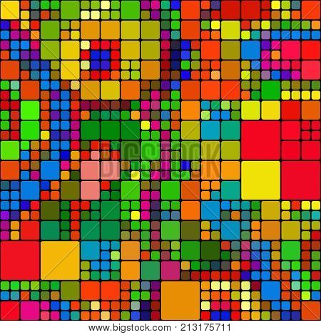 A seamless repeating background pattern with colourful squares.