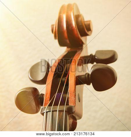 a part of a cello fingerboard closeup