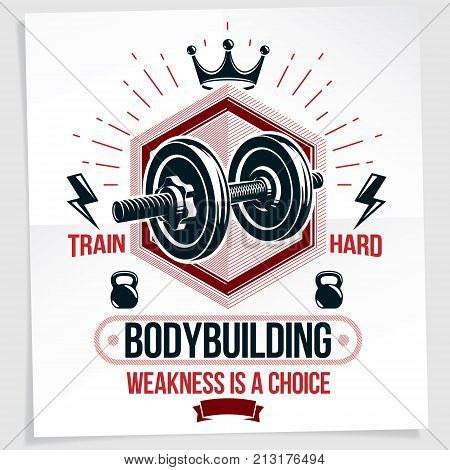 Heavy load power lifting championship vector advertising poster created with disc weight dumbbell kettle-bell sport equipment and royal crown. Train hard lettering.