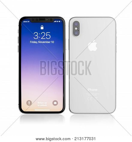 UZHGOROD, UKRAINE - NOVEMBER 10, 2017: New iPhone X 10 on a white background, studio shot. The Roman figure X in the device's name indicates the decade of the iPhone's lineup.