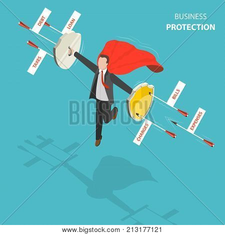 Business protection flat, isometric low poly vector concept. Man with a red cloak is hovering over the ground like a superhero with shields in his hands defending from arrows with captions debt, loan, taxes, expenses, bills, charges.