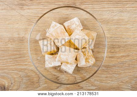 Heap Of Rakhat-lukum In Saucer On Table
