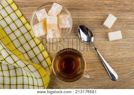 Rakhat-lukum In Bowl, Tea, Napkin, Sugar And Teaspoon
