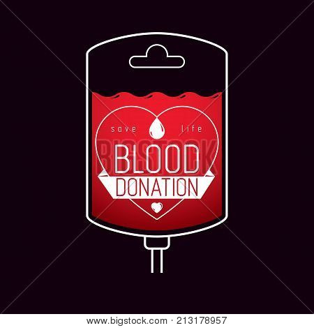Vector illustration of blood dropper prepared for blood donation. Blood transfusion metaphor medical care emblem.