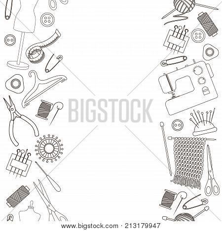 Seamless vertical borders of tools for needlework and sewing. Handmade equipment and needlework accessoriesy, line cartoon illustration. Vector