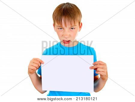 Angry Kid hold the Blank Paper on the White Background