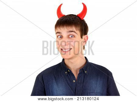 Sly Young Man with Devil Horns on the Head Isolated