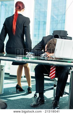 Business - nap in the office to relieve stress