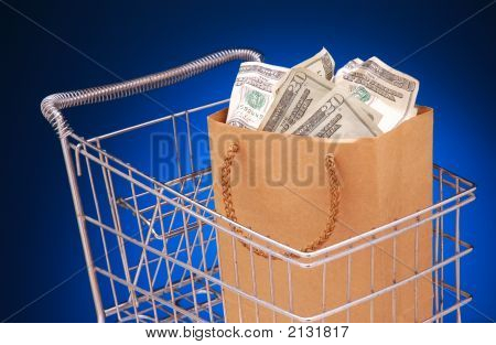 Cart With Money Bag