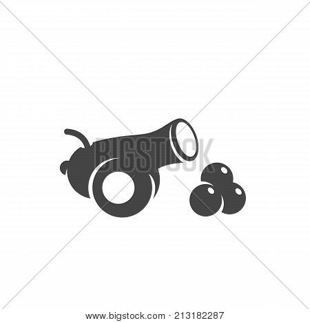 Cannon icon on white background. Cannon vector logo illustration isolated sign symbol. Gun pictogram for web graphics