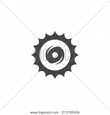 Circular saw blade icon on white background. Circular blade vector logo illustration isolated sign symbol. Modern pictogram for web graphics