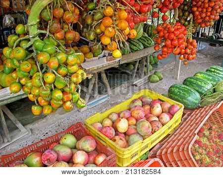 Peach palm fruits, Bactris Gasipaes, displayed with other fruits at market in Costa Rica, Central America. This fruit is a species of palm native to the tropical forests of South and Central America.