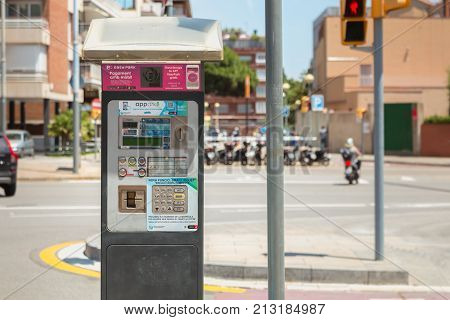 BARCELONA SPAIN - June 20 2017 : Parking Ticket Machines where motorists can pay for their parking on the street