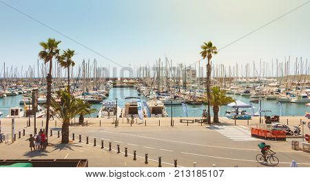 Overview Of The Olympic Port Of Barcelona, A Marina Opened In 1991 That Hosted The Boat Competitions