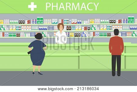 People in the pharmacy. The pharmacist stands near the shelves with medicines. In the green hall there are visitors. Vector illustration