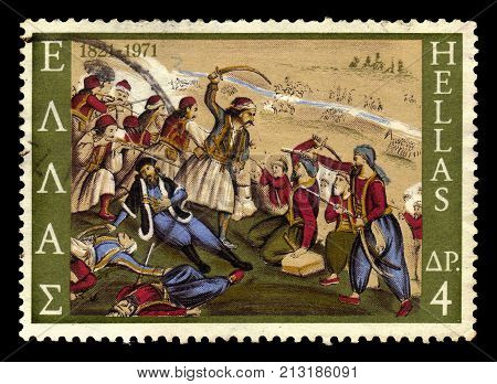 GREECE - CIRCA 1971: A stamp printed in Greece shows the death of Isaiah, bishop of Salona in battle,