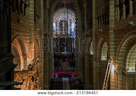 Evora Portugal August 17 2017: View of the central nave of the Se Cathedral of Evora Portugal originated in the 13th century declared a World Heritage Site by UNESCO in 1988.