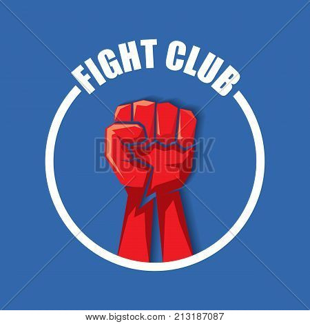 fight club vector logo with red man fist isolated on blue background. MMA Mixed martial arts concept design template