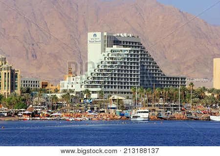Eilat, Israel - MAY 24 : views of the coastline and luxurious hotels in popular resort - Eilat of Israel  from Gulf of Eilat on may 24, 2017 Eilat, Israel