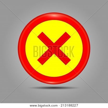 Simple web button. x symbol in red color vector illustration. Accept red button glossy web icon on grey background