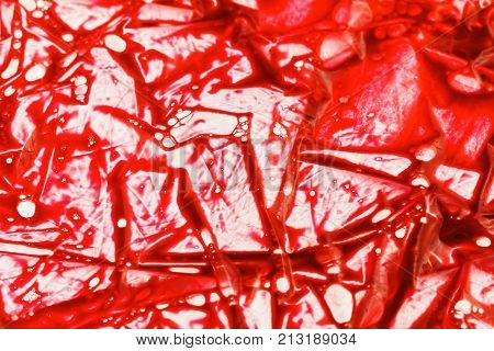 Background of blood in a plastic bag of the donor. Physiological liquids chemical reagents
