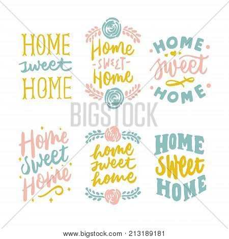 simple and beautiful vintage home sweet home hand lettering with modern typography. sweet for poster, notes, greetings, and print design etc.