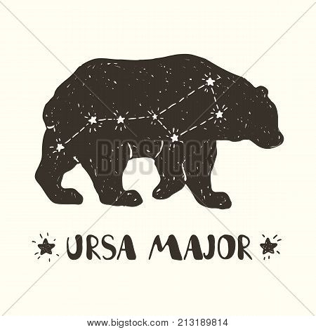 Hand drawn vector illustration of the constellation Ursa Major on the bear silhouette