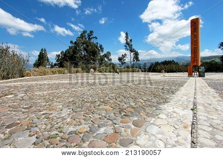 Equator Line monument, marks the point through which the equator passes, Cayambe, Ecuador, South America