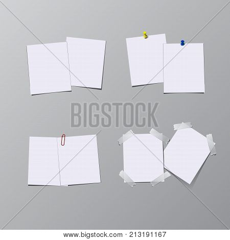Set of paper sheets with pin, adhesive tape and clip isolated on gray background