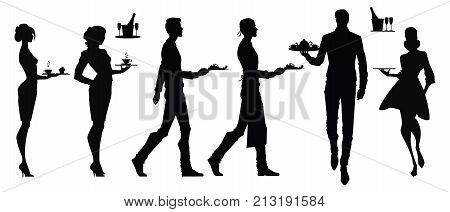 Set of vector silhouettes of waiters. Waiters and waitresses in different poses. without background