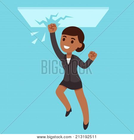 Black business woman breaking glass ceiling. Successful people of color in corporate culture. Cartoon vector illustration.