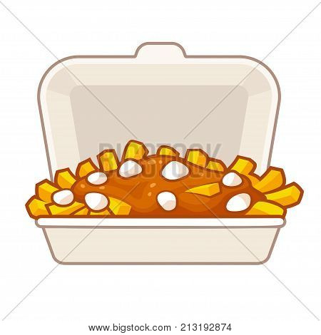 Poutine traditional Canadian food in takeout box. Potato french fries with gravy and cheese curds in takeaway container. Isolated vector illustration.