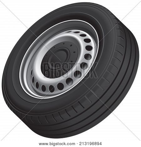 High quality vector illustration of typical vans wheel with pressed disc isolated on white background. File contains gradients blends and transparency. No strokes.