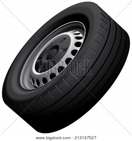 High quality vector illustration of vans wheel with pressed disc isolated on white background. File contains gradients blends and transparency. No strokes.