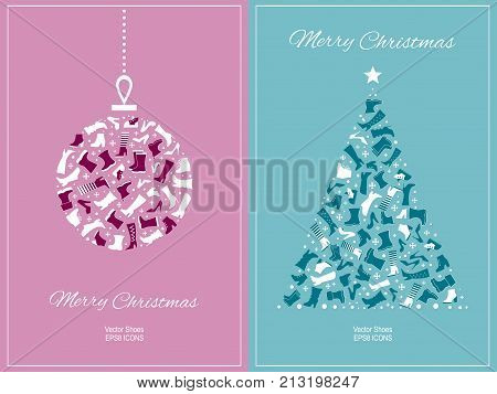 New Year card with shoes and Christmas tree and ball. Footwear advertising template