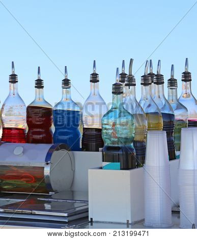 Bottles Of Juices And Syrups At The Seaside Bar