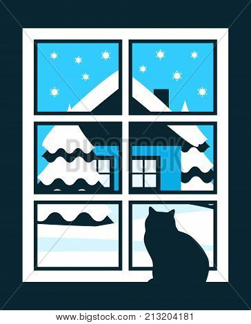 vector cat in the window and snowy landscape outside the window