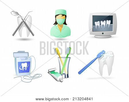 Accessories for dental care. Teeth brush, paste, thread for cleaning teeth. Vector illustration.